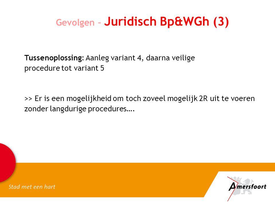 Gevolgen – Juridisch Bp&WGh (3) >> Er is een mogelijkheid om toch zoveel mogelijk 2R uit te voeren zonder langdurige procedures…. Tussenoplossing: Aan