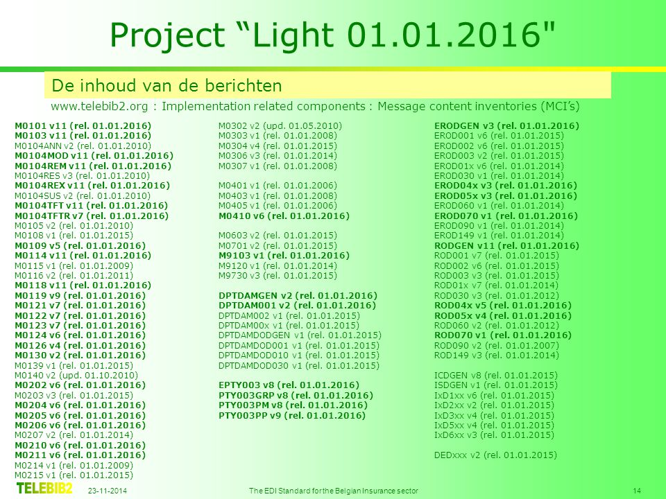 23-11-2014 The EDI Standard for the Belgian Insurance sector 14 Project Light 01.01.2016 De inhoud van de berichten www.telebib2.org : Implementation related components : Message content inventories (MCI's) M0101 v11 (rel.