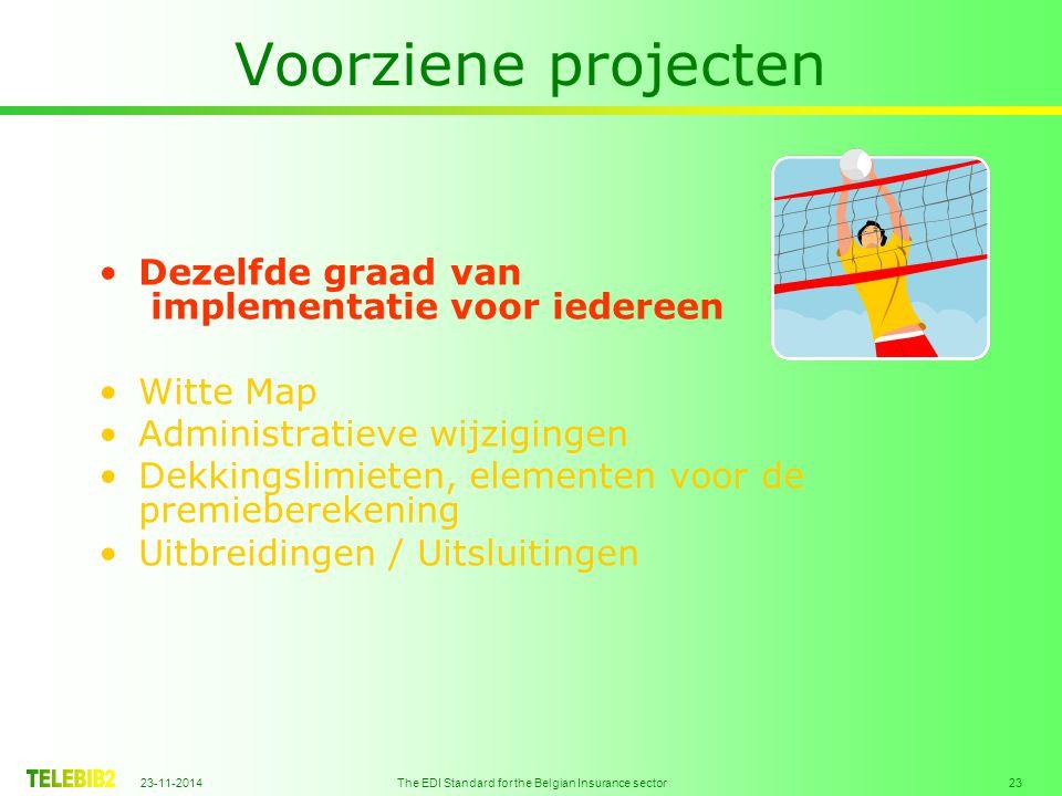 23-11-2014 The EDI Standard for the Belgian Insurance sector 23 Voorziene projecten Dezelfde graad van implementatie voor iedereen Witte Map Administr