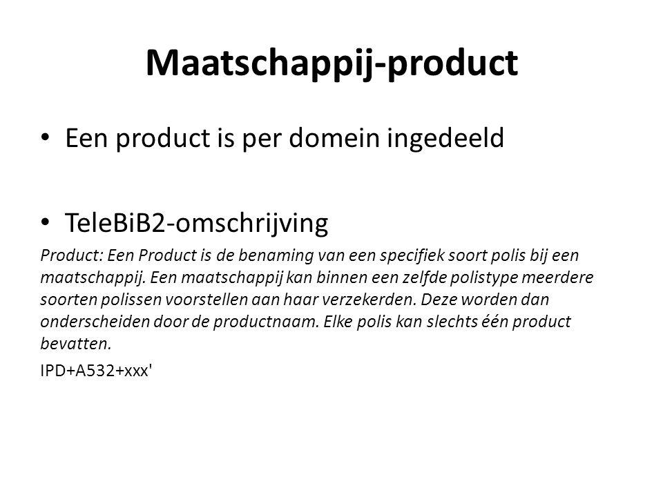 Maatschappij-product Een product is per domein ingedeeld TeleBiB2-omschrijving Product: Een Product is de benaming van een specifiek soort polis bij e