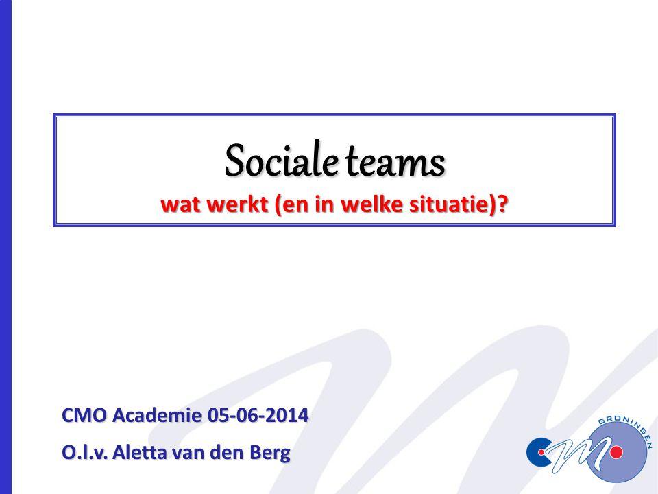 Sociale teams wat werkt (en in welke situatie)? CMO Academie 05-06-2014 O.l.v. Aletta van den Berg