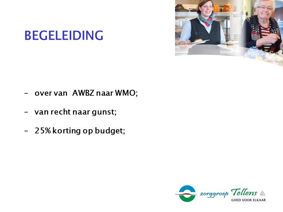 BEGELEIDING -over van AWBZ naar WMO; -van recht naar gunst; -25% korting op budget;