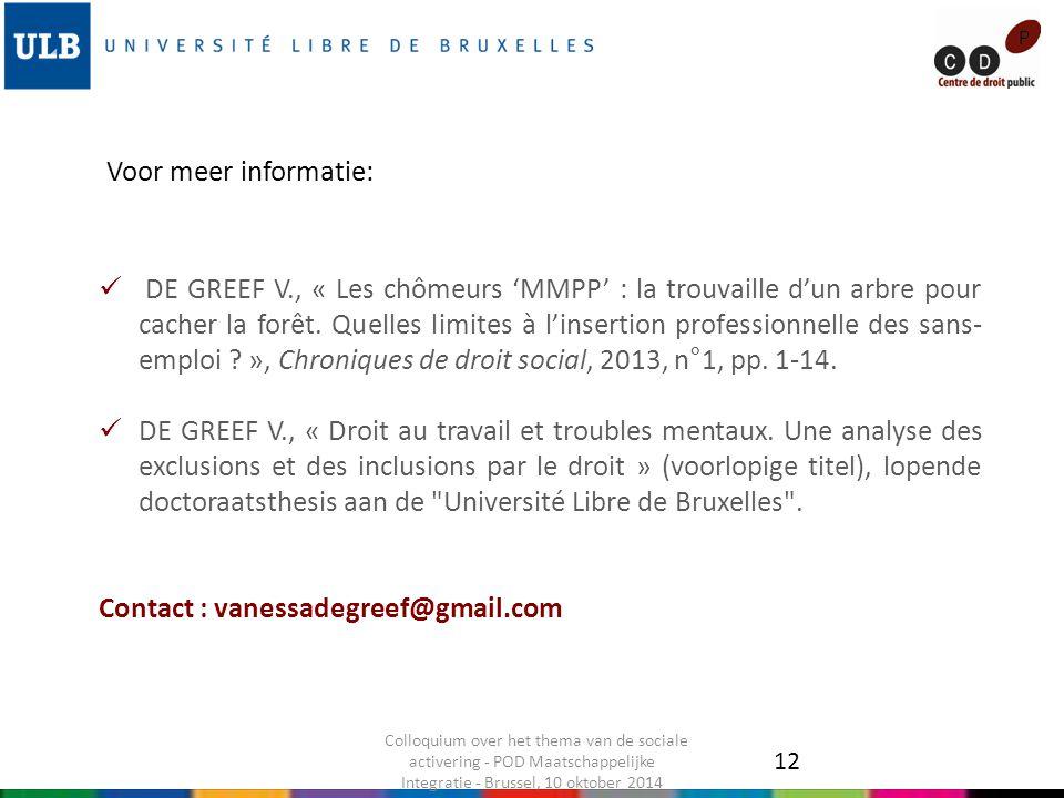 DE GREEF V., « Les chômeurs 'MMPP' : la trouvaille d'un arbre pour cacher la forêt.