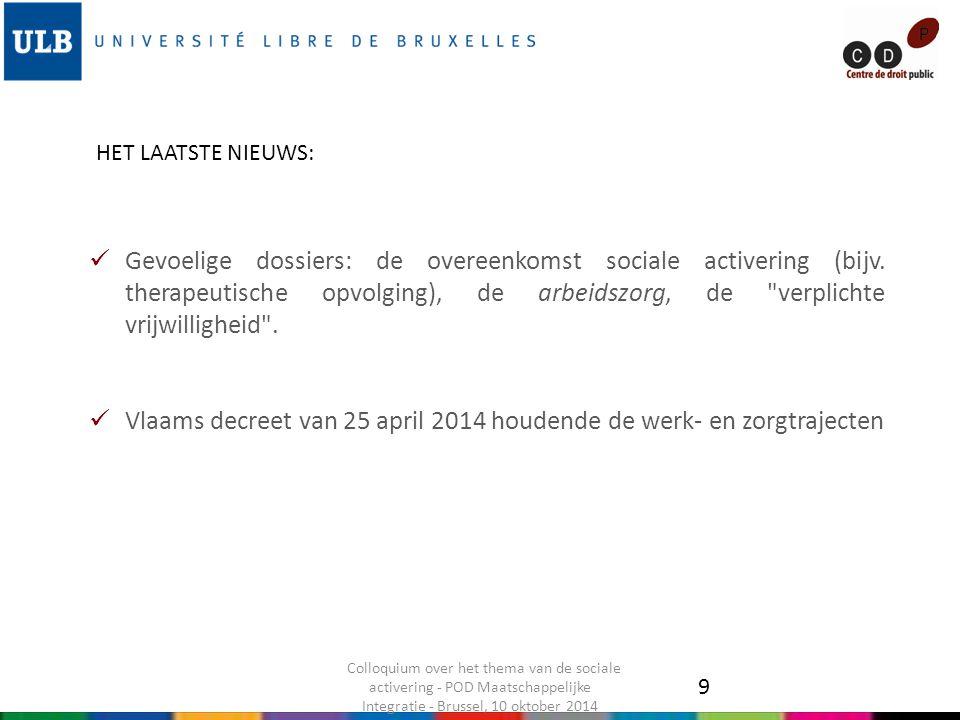 Gevoelige dossiers: de overeenkomst sociale activering (bijv.