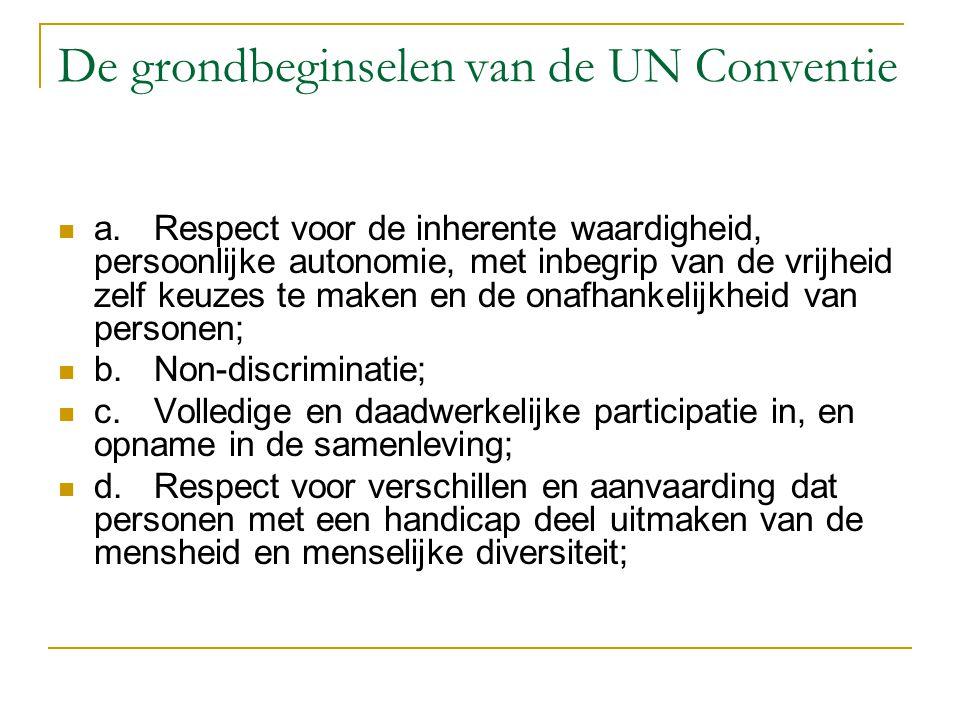 De grondbeginselen van de UN Conventie a.Respect voor de inherente waardigheid, persoonlijke autonomie, met inbegrip van de vrijheid zelf keuzes te ma