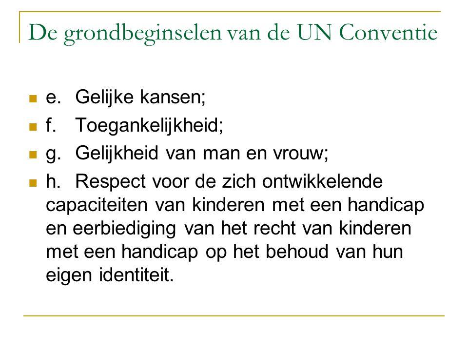 De grondbeginselen van de UN Conventie e.Gelijke kansen; f.Toegankelijkheid; g.Gelijkheid van man en vrouw; h.Respect voor de zich ontwikkelende capac