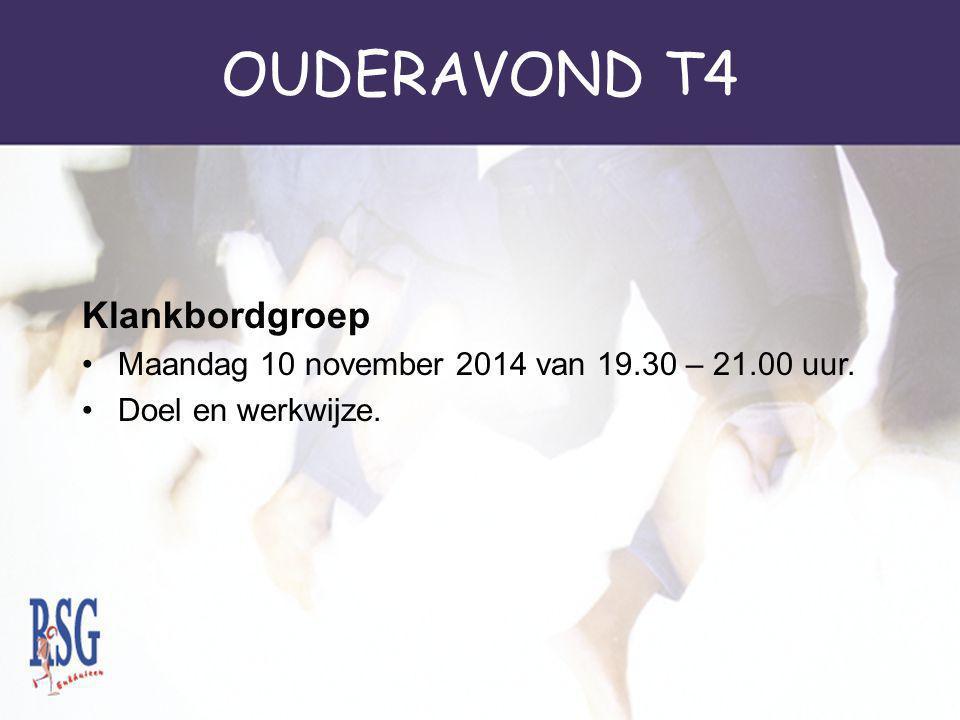 OUDERAVOND T4 Klankbordgroep Maandag 10 november 2014 van 19.30 – 21.00 uur. Doel en werkwijze.