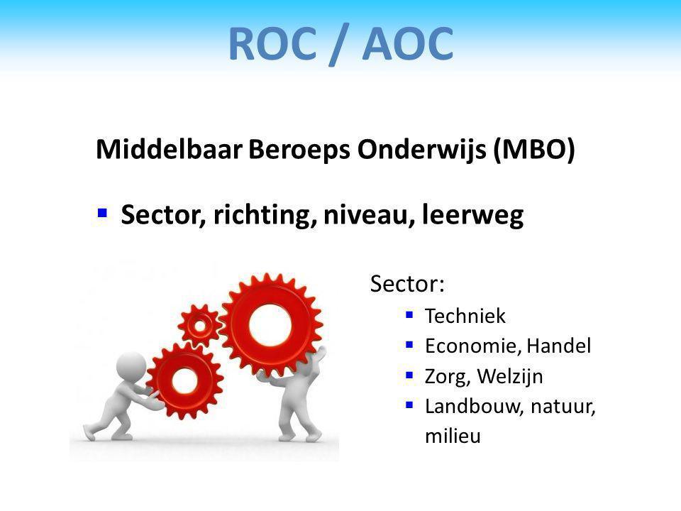 ROC / AOC Middelbaar Beroeps Onderwijs (MBO)  Sector, richting, niveau, leerweg Sector:  Techniek  Economie, Handel  Zorg, Welzijn  Landbouw, natuur, milieu