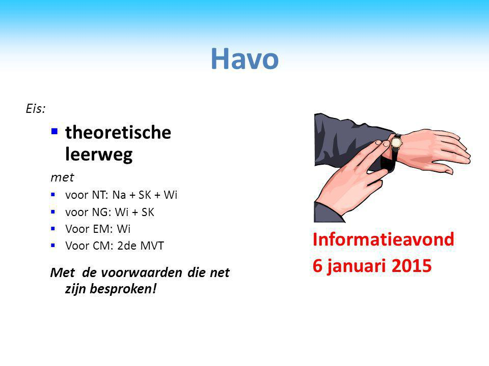 Havo Eis:  theoretische leerweg met  voor NT: Na + SK + Wi  voor NG: Wi + SK  Voor EM: Wi  Voor CM: 2de MVT Met de voorwaarden die net zijn besproken.