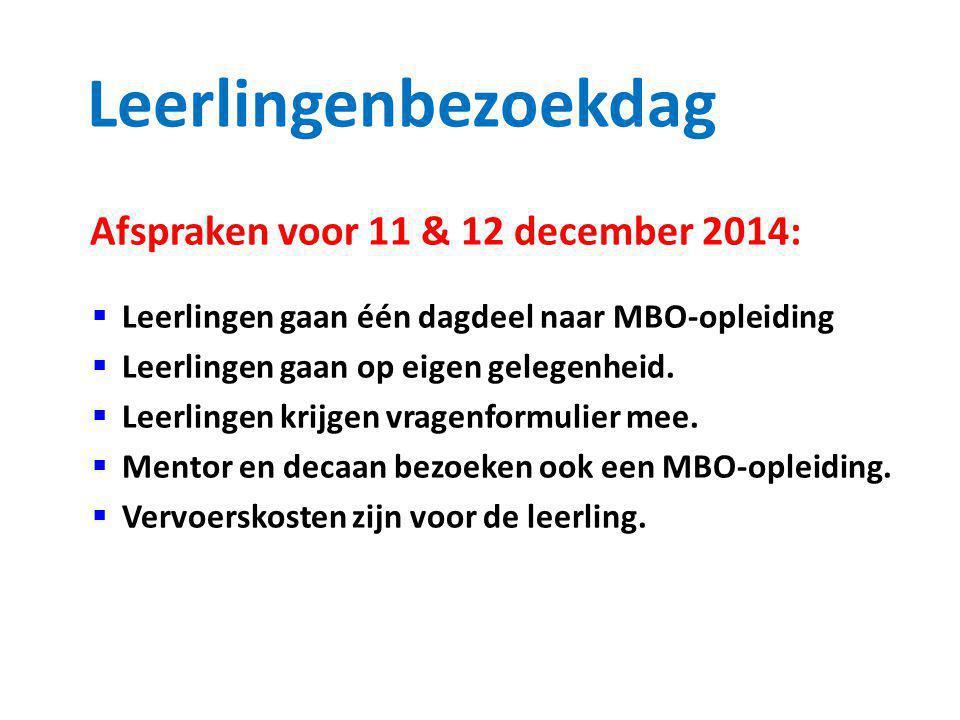 Leerlingenbezoekdag Afspraken voor 11 & 12 december 2014:  Leerlingen gaan één dagdeel naar MBO-opleiding  Leerlingen gaan op eigen gelegenheid.