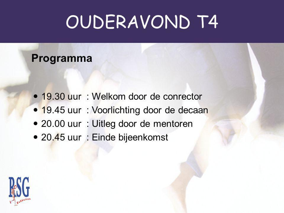 OUDERAVOND T4 19.30 uur : Welkom door de conrector 19.45 uur : Voorlichting door de decaan 20.00 uur : Uitleg door de mentoren 20.45 uur : Einde bijeenkomst Programma