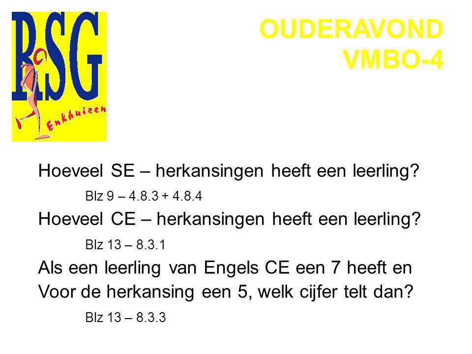 OUDERAVOND VMBO-4 Een leerling is het niet eens met het cijfer wat hij/zij heeft gekregen voor het schoolexamen.