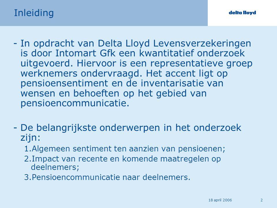 18 april 20062 Inleiding -In opdracht van Delta Lloyd Levensverzekeringen is door Intomart Gfk een kwantitatief onderzoek uitgevoerd. Hiervoor is een