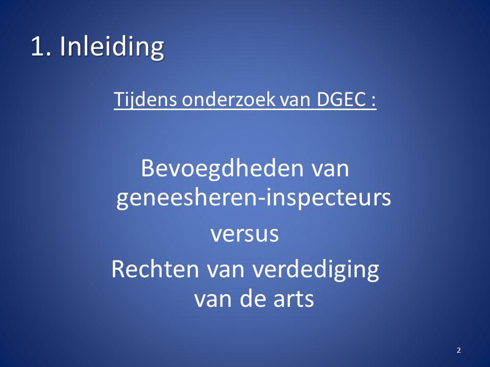 1. Inleiding Tijdens onderzoek van DGEC : Bevoegdheden van geneesheren-inspecteurs versus Rechten van verdediging van de arts 2