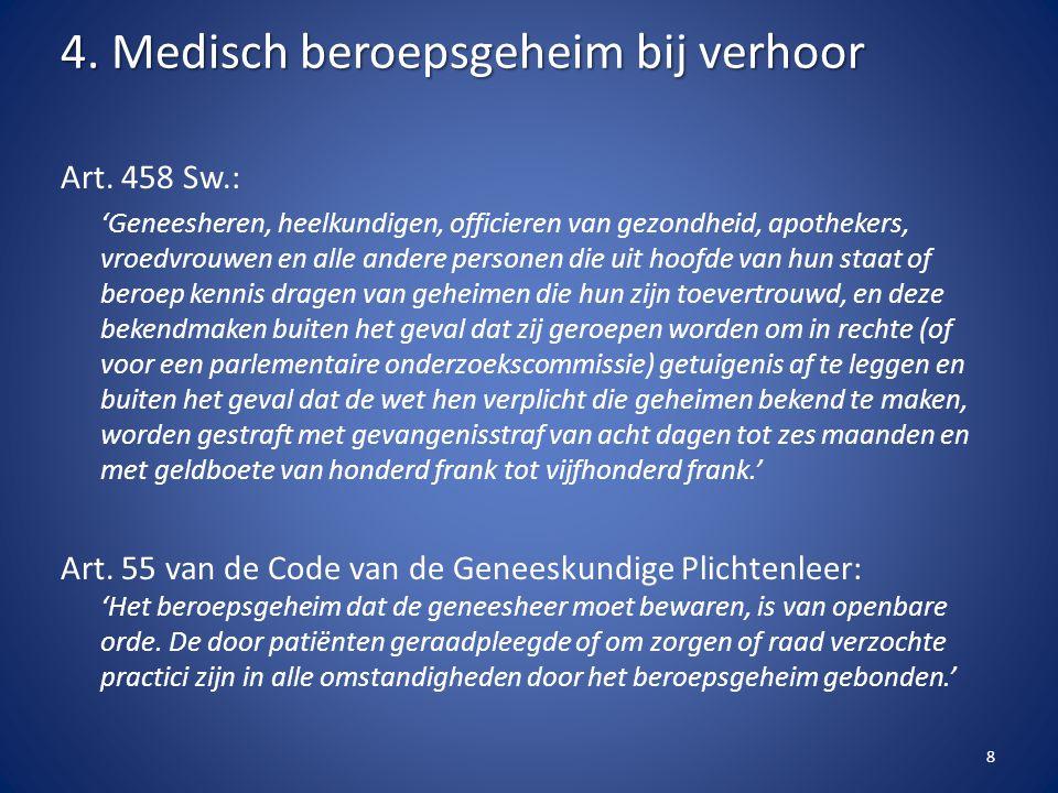 Art. 458 Sw.: 'Geneesheren, heelkundigen, officieren van gezondheid, apothekers, vroedvrouwen en alle andere personen die uit hoofde van hun staat of