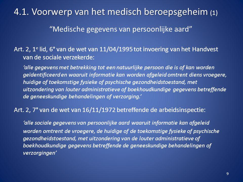 """""""Medische gegevens van persoonlijke aard"""" Art. 2, 1 e lid, 6° van de wet van 11/04/1995 tot invoering van het Handvest van de sociale verzekerde: 'all"""