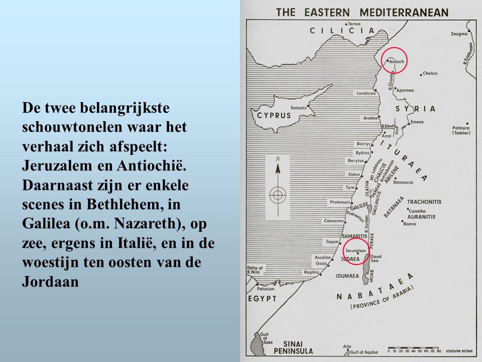De twee belangrijkste schouwtonelen waar het verhaal zich afspeelt: Jeruzalem en Antiochië.