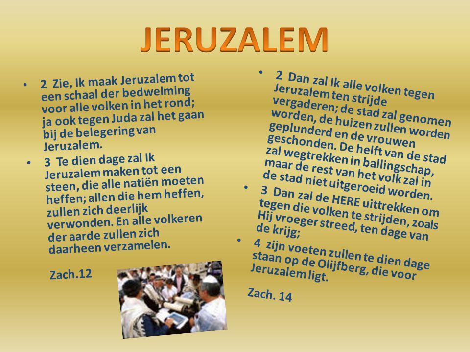 2 Zie, Ik maak Jeruzalem tot een schaal der bedwelming voor alle volken in het rond; ja ook tegen Juda zal het gaan bij de belegering van Jeruzalem.