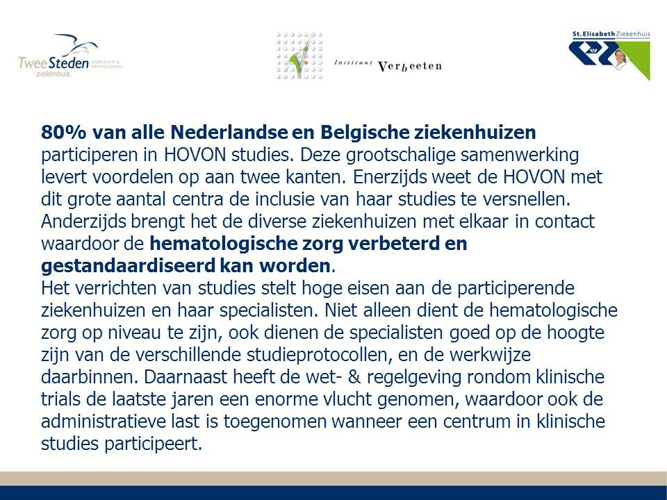 80% van alle Nederlandse en Belgische ziekenhuizen participeren in HOVON studies. Deze grootschalige samenwerking levert voordelen op aan twee kanten.