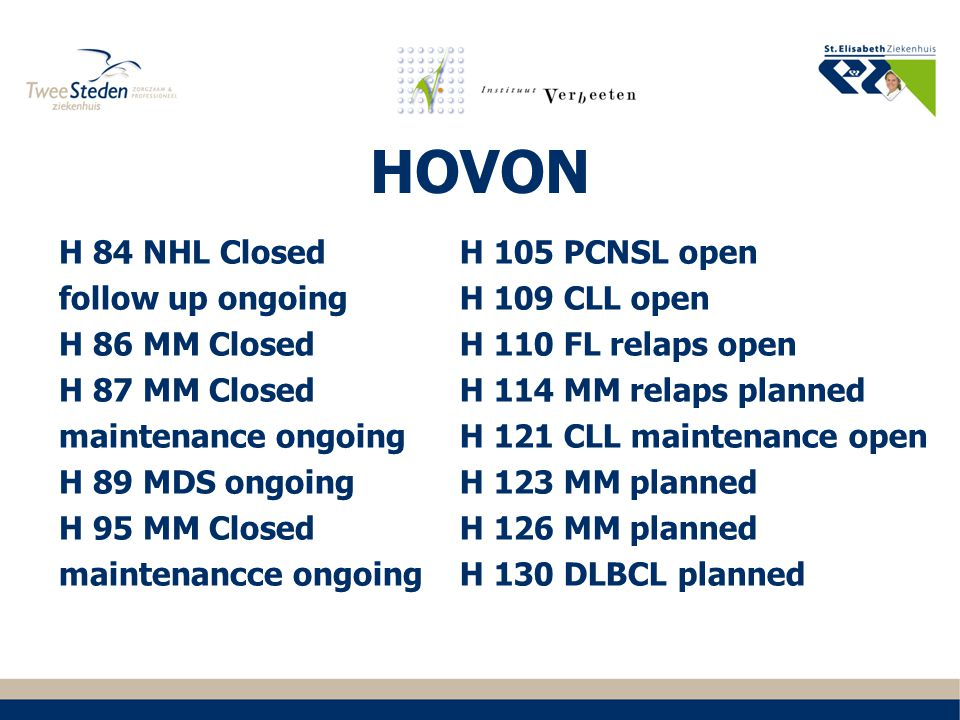 HOVON H 84 NHL Closed follow up ongoing H 86 MM Closed H 87 MM Closed maintenance ongoing H 89 MDS ongoing H 95 MM Closed maintenancce ongoing H 105 P