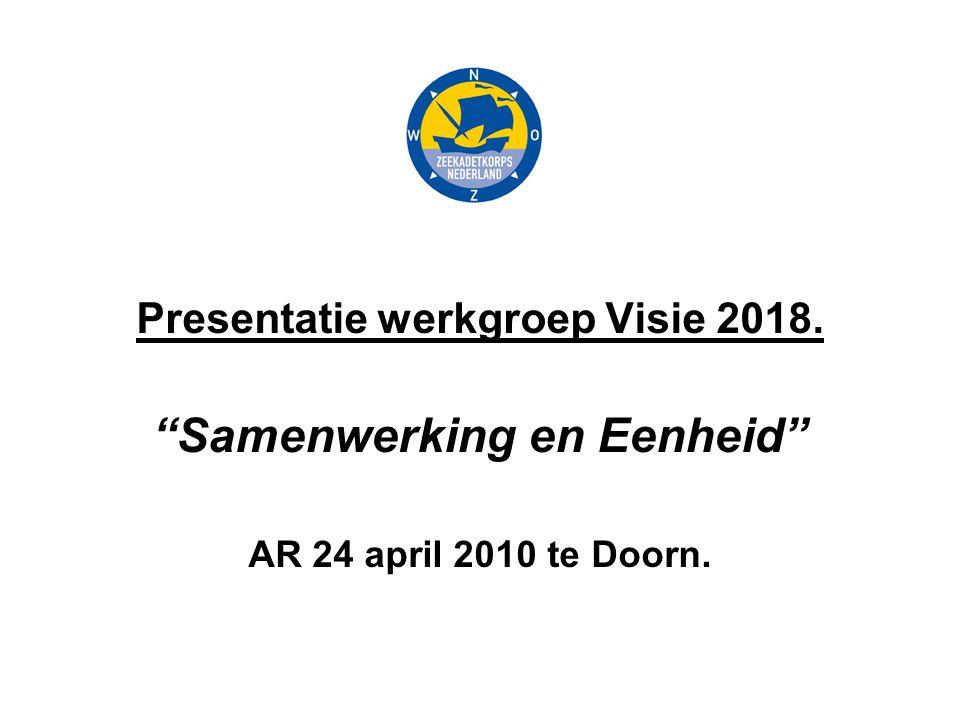Presentatie werkgroep Visie 2018. Samenwerking en Eenheid AR 24 april 2010 te Doorn.