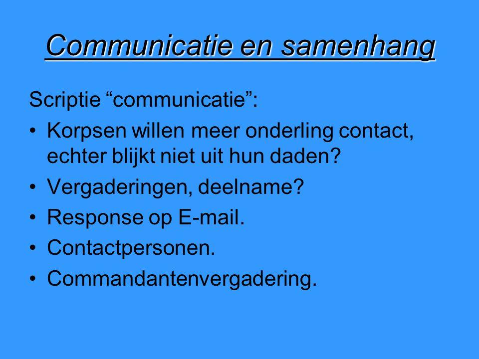 Communicatie en samenhang Scriptie communicatie : Korpsen willen meer onderling contact, echter blijkt niet uit hun daden.