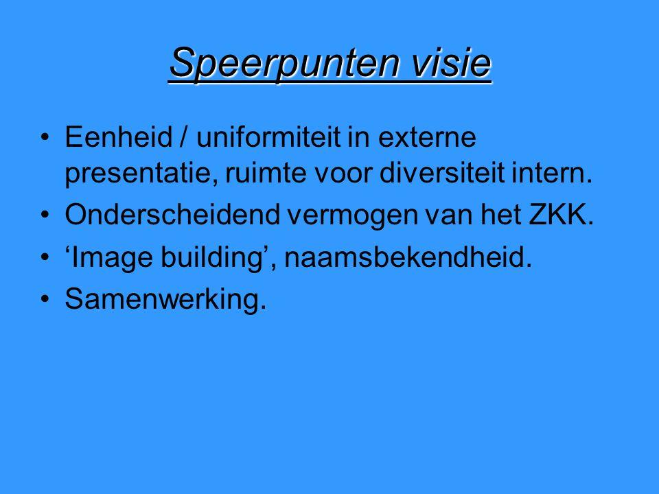 Speerpunten visie Eenheid / uniformiteit in externe presentatie, ruimte voor diversiteit intern.