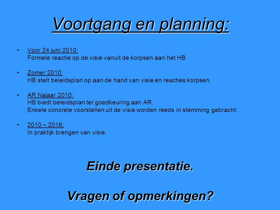 Voortgang en planning: Voor 24 juni 2010: Formele reactie op de visie vanuit de korpsen aan het HB.