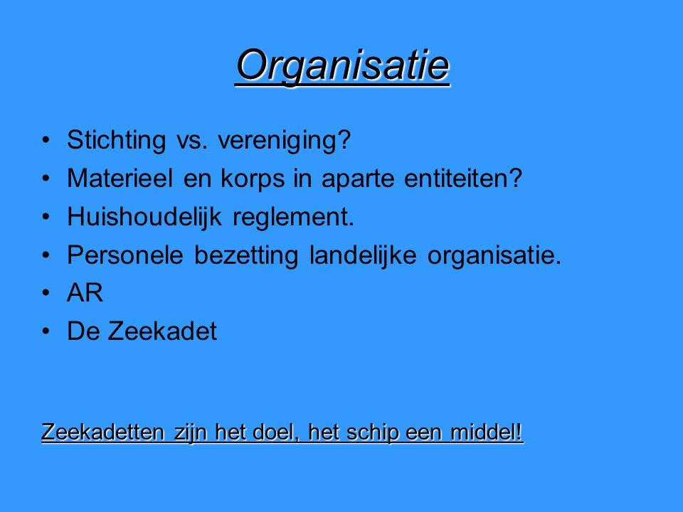 Organisatie Stichting vs. vereniging. Materieel en korps in aparte entiteiten.