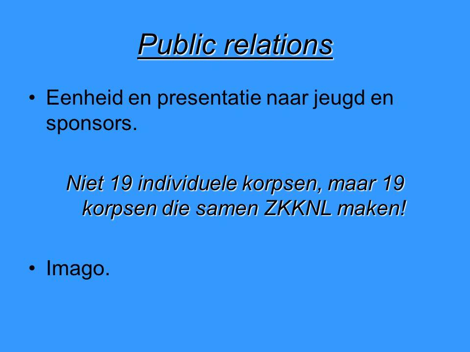 Public relations Eenheid en presentatie naar jeugd en sponsors.
