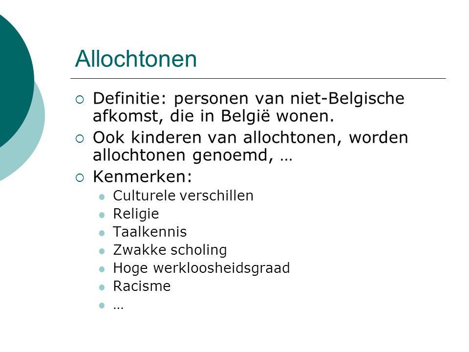 Allochtonen  Definitie: personen van niet-Belgische afkomst, die in België wonen.  Ook kinderen van allochtonen, worden allochtonen genoemd, …  Ken