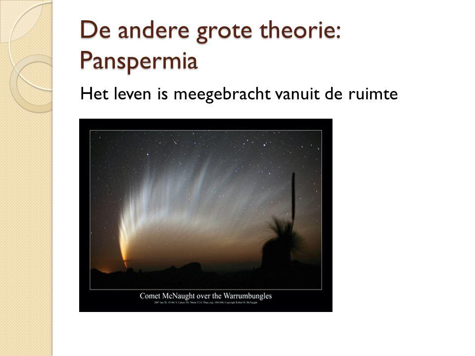 De andere grote theorie: Panspermia Het leven is meegebracht vanuit de ruimte
