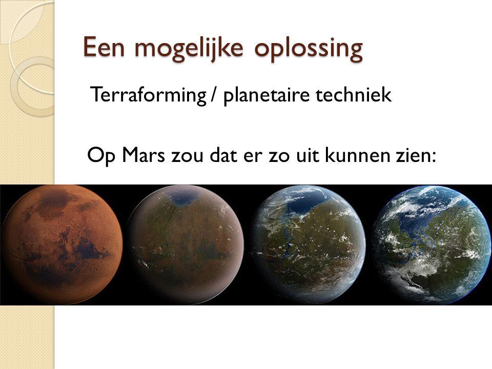 Een mogelijke oplossing Terraforming / planetaire techniek Op Mars zou dat er zo uit kunnen zien: