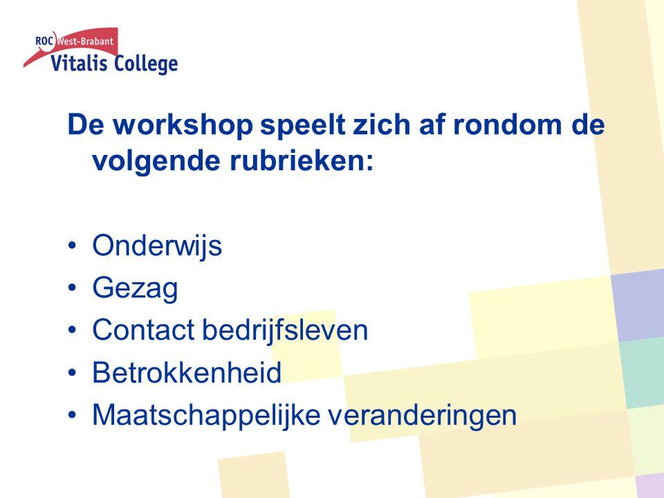 De workshop speelt zich af rondom de volgende rubrieken: Onderwijs Gezag Contact bedrijfsleven Betrokkenheid Maatschappelijke veranderingen