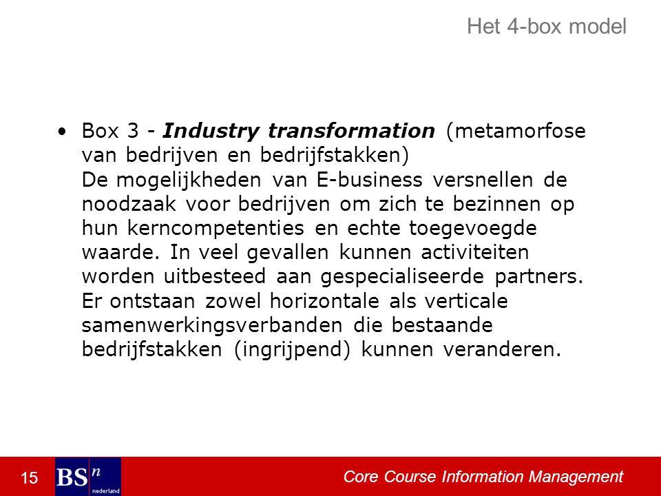 15 Core Course Information Management Het 4-box model Box 3 - Industry transformation (metamorfose van bedrijven en bedrijfstakken) De mogelijkheden van E-business versnellen de noodzaak voor bedrijven om zich te bezinnen op hun kerncompetenties en echte toegevoegde waarde.