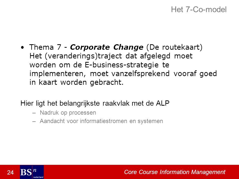 24 Core Course Information Management Het 7-Co-model Thema 7 - Corporate Change (De routekaart) Het (veranderings)traject dat afgelegd moet worden om de E-business-strategie te implementeren, moet vanzelfsprekend vooraf goed in kaart worden gebracht.