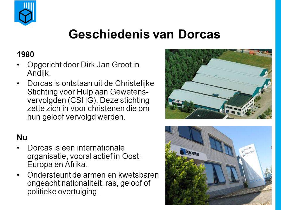 www.dorcas.nl Geschiedenis van Dorcas 1980 Opgericht door Dirk Jan Groot in Andijk. Dorcas is ontstaan uit de Christelijke Stichting voor Hulp aan Gew