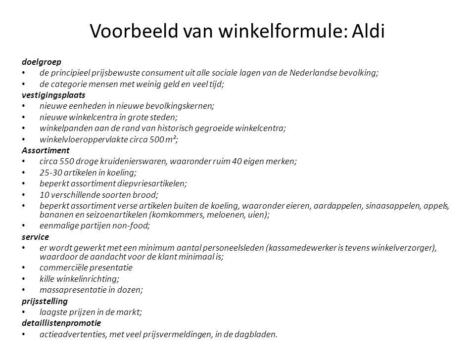 Voorbeeld van winkelformule: Aldi doelgroep de principieel prijsbewuste consument uit alle sociale lagen van de Nederlandse bevolking; de categorie me