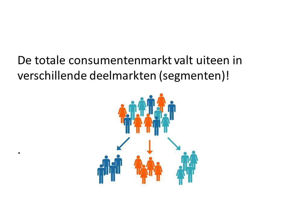 De totale consumentenmarkt valt uiteen in verschillende deelmarkten (segmenten)!.