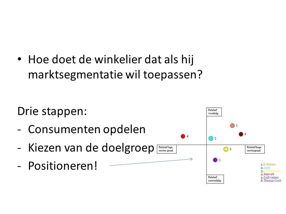 Hoe doet de winkelier dat als hij marktsegmentatie wil toepassen? Drie stappen: -Consumenten opdelen -Kiezen van de doelgroep -Positioneren!