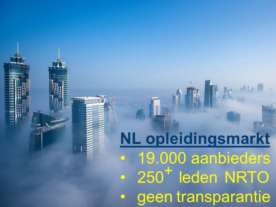 NL opleidingsmarkt 19.000 aanbieders 250 + leden NRTO geen transparantie