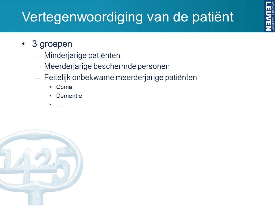 Vertegenwoordiging van de patiënt 3 groepen –Minderjarige patiënten –Meerderjarige beschermde personen –Feitelijk onbekwame meerderjarige patiënten Co