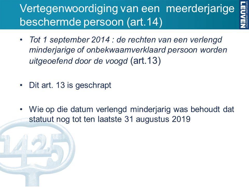 Vertegenwoordiging van een meerderjarige beschermde persoon (art.14) Tot 1 september 2014 : de rechten van een verlengd minderjarige of onbekwaamverkl