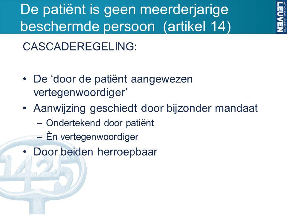 De patiënt is geen meerderjarige beschermde persoon (artikel 14) CASCADEREGELING: De 'door de patiënt aangewezen vertegenwoordiger' Aanwijzing geschie