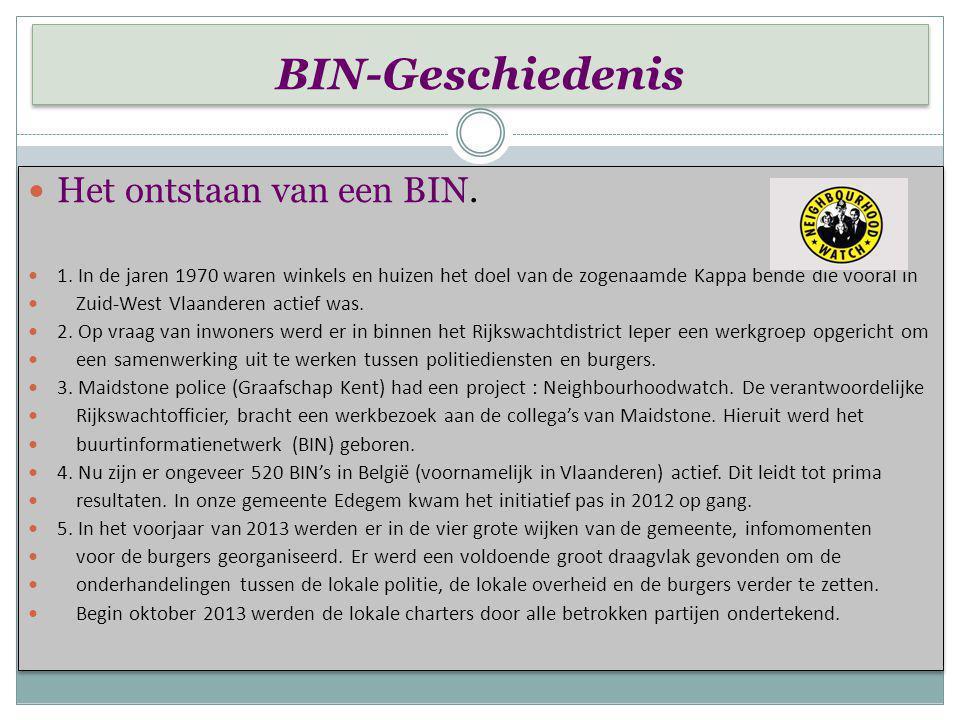 Wat is een BIN- niet ? Wat is een BIN- niet ? Een BIN is geen organisatie die patrouilles, interventies of andere politionele taken op zich neemt. Een