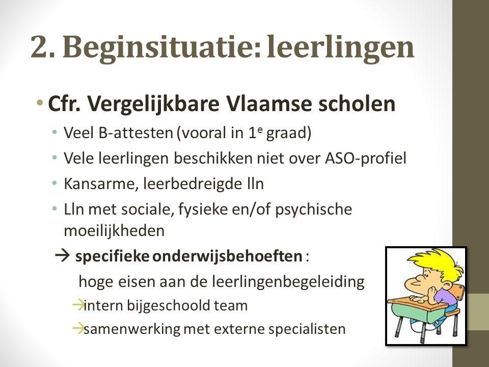 2. Beginsituatie: leerlingen Cfr. Vergelijkbare Vlaamse scholen Veel B-attesten (vooral in 1 e graad) Vele leerlingen beschikken niet over ASO-profiel