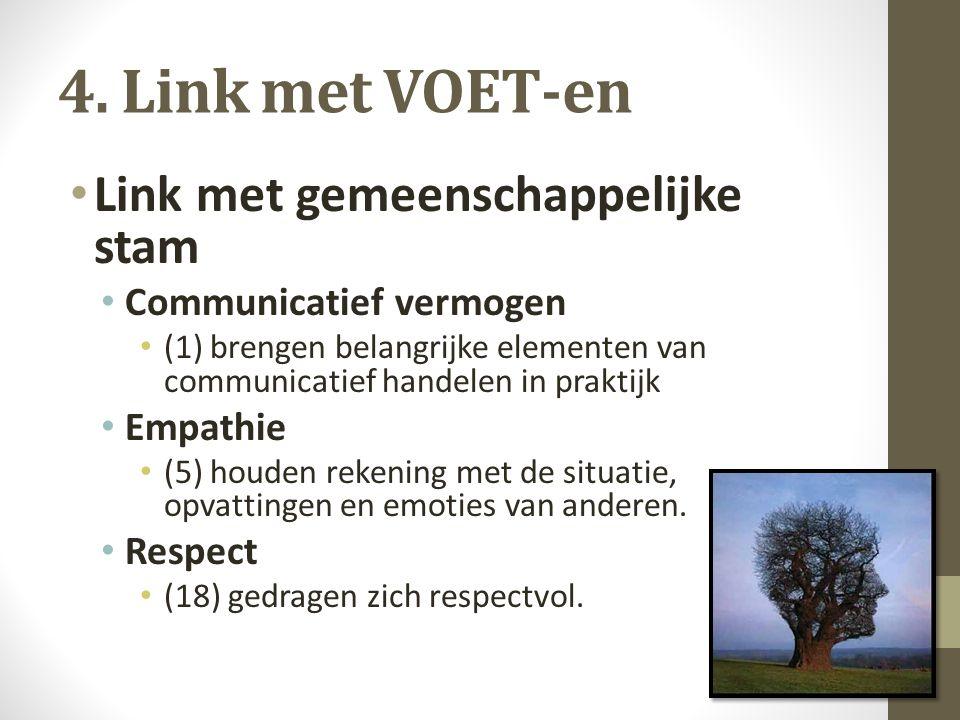 4. Link met VOET-en Link met gemeenschappelijke stam Communicatief vermogen (1) brengen belangrijke elementen van communicatief handelen in praktijk E