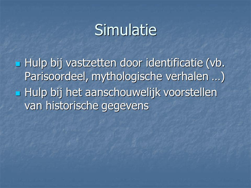 Simulatie Hulp bij vastzetten door identificatie (vb. Parisoordeel, mythologische verhalen …) Hulp bij vastzetten door identificatie (vb. Parisoordeel