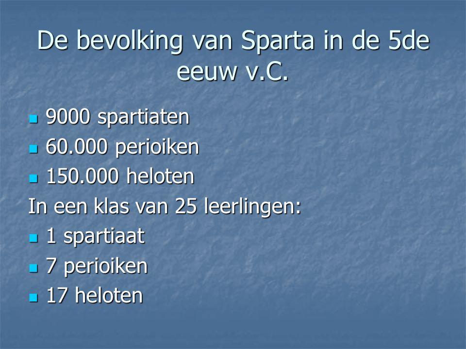 De bevolking van Sparta in de 5de eeuw v.C. 9000 spartiaten 9000 spartiaten 60.000 perioiken 60.000 perioiken 150.000 heloten 150.000 heloten In een k