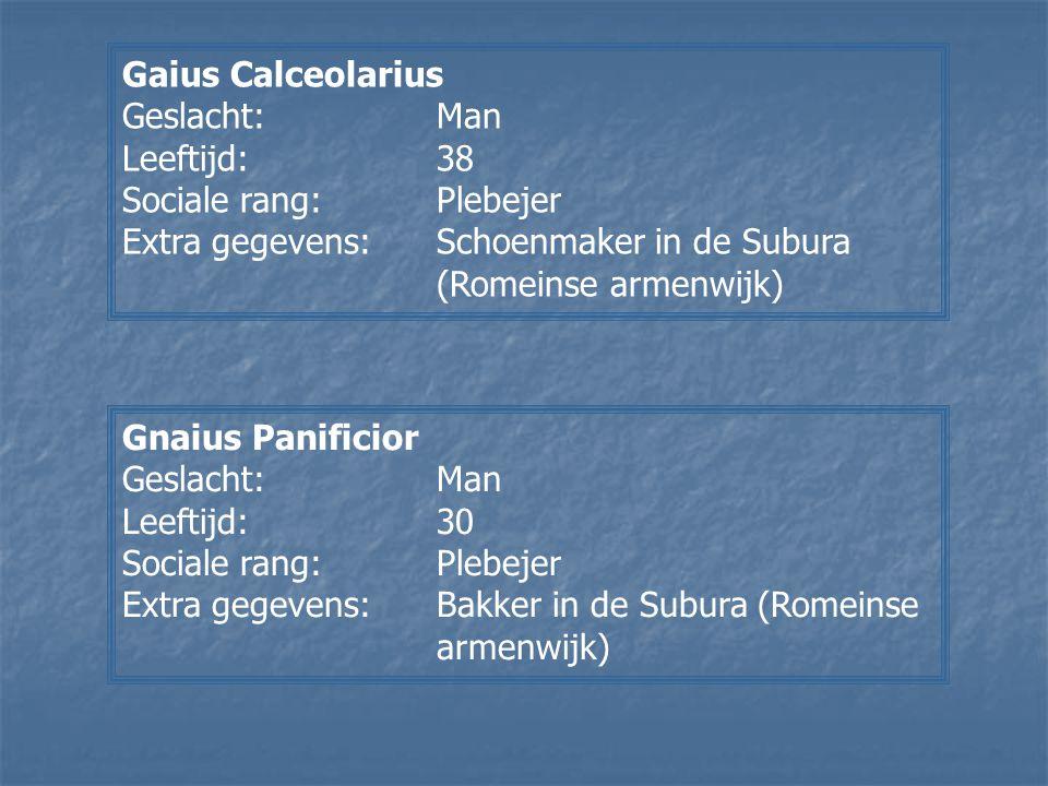 Gaius Calceolarius Geslacht:Man Leeftijd:38 Sociale rang:Plebejer Extra gegevens:Schoenmaker in de Subura (Romeinse armenwijk) Gnaius Panificior Gesla